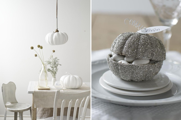 white halloween tablescape and place setting