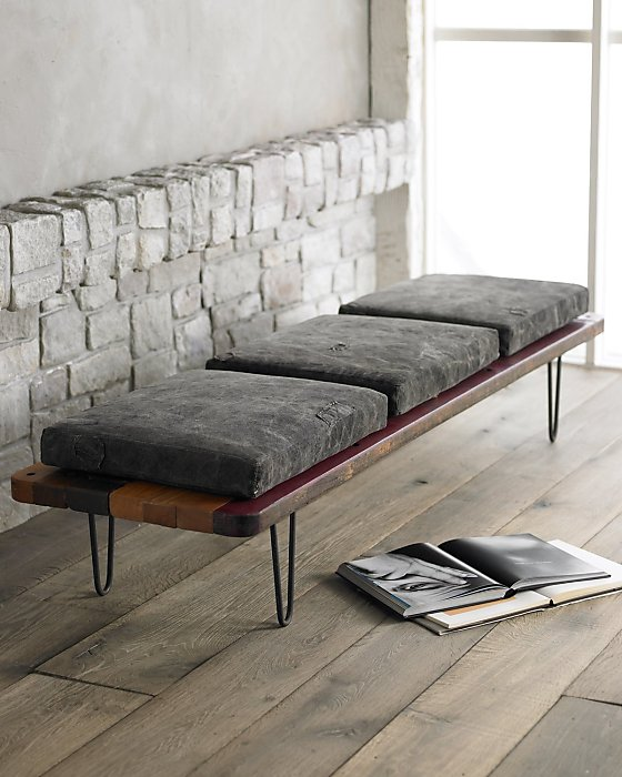 bench with gray canvas cushions